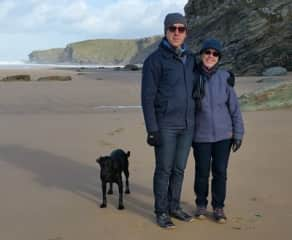 Son Andy, Carol and Jet in a Cornish storm