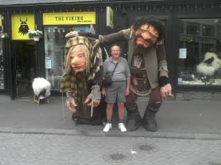 Geoff with trolls in Reykjavik, Iceland.
