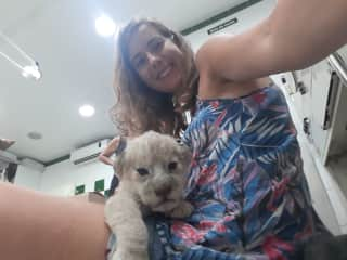Me with a baby white lion cub