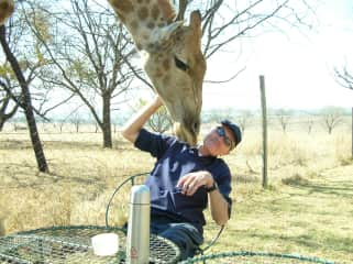 Neil and a curious admirer, Lion Park, Johannesburg