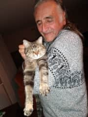 Richard with Sweety, the cat