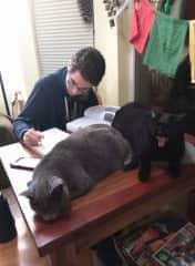 Sofi & Milo supporting Diego's studies