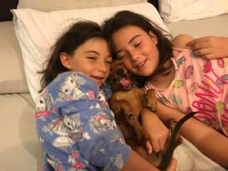My daughters Mila and Freya with 2-year-old Dachshund, Cinnamon