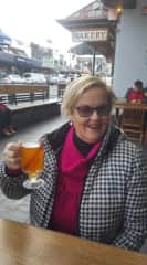 Nancy enjoying Mulled Cider on a chilly winters afternoon.