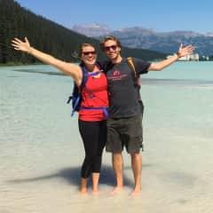 Derrick and Megan hiking in Lake Louise, Alberta, Canada!