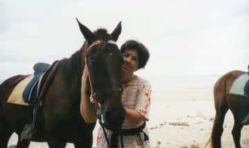 Me and horse on beach riding trip, Australia