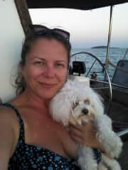 Lili and l sailing Aegean sea in 2017