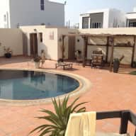 In the heart of the Arabian Gulf. A loveable dog and luxury home with swimming pool.