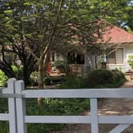 Country village cottage with friendly dog