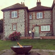 Rural cottage with dog in South Downs National Park