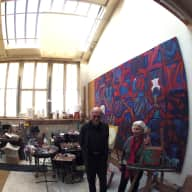 Artist studio at the Cité Fleurie, with two cats.