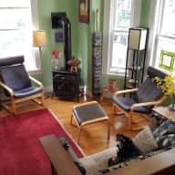 Art-filled comfortable Cambridge home & pooch -- with parking, very close to subway and shops