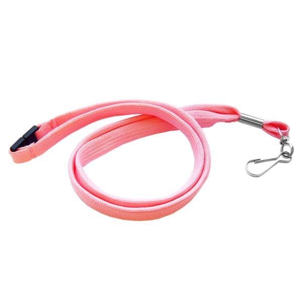 Lanyard, polyester med roterbar krok och säkerhetssnäppe, rosa, 100 st