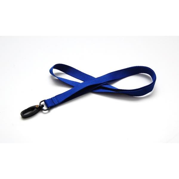 Lanyard, ribbad polyester med plastkrok, blå, 100st