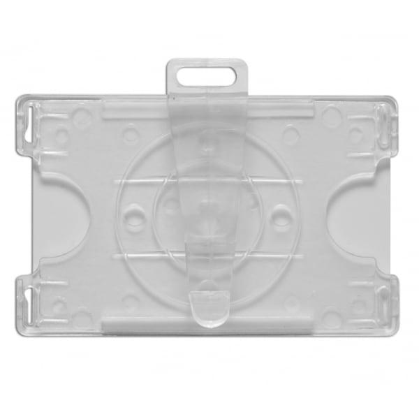 Korthållare IDP 67R, öppen, roterbar clip, transparent