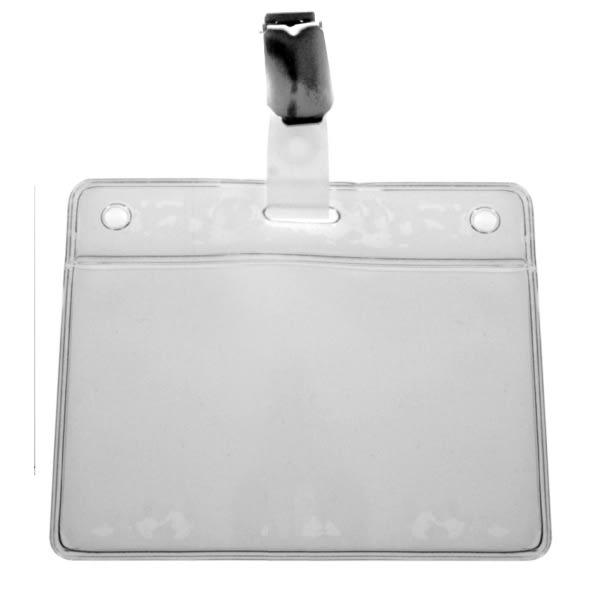 Korthållare IDS 46, mjuk vinyl, horisontal, vit, med metall clip (IDS 16)