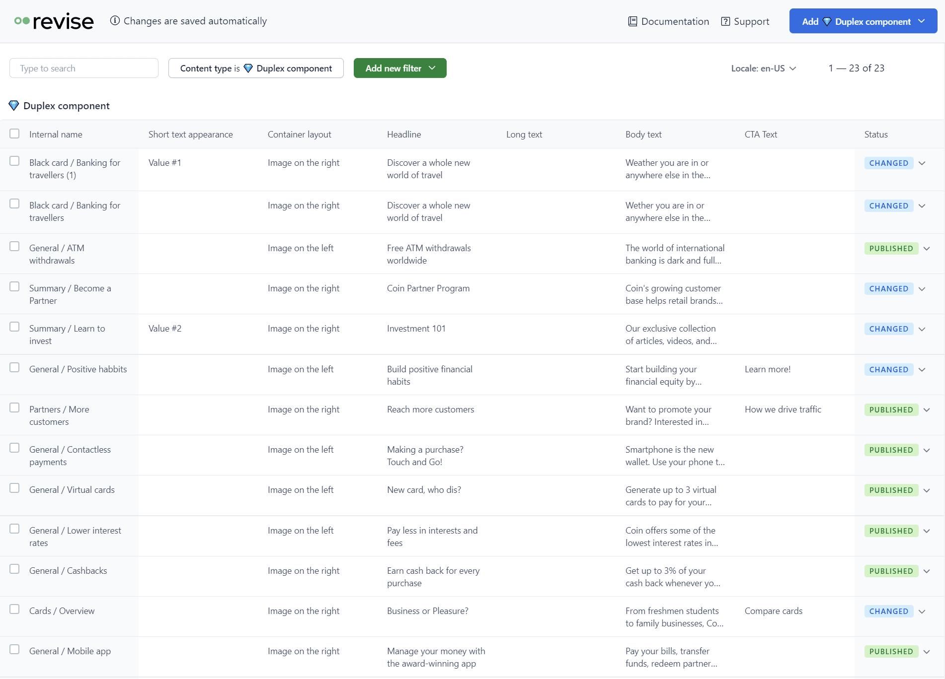 Revise spreadsheet interface