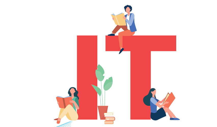 IT illustration with people reading t_scout