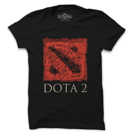 Dota2 Map and logo black tshirt