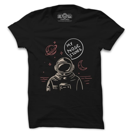 Astronaut Itchy Nose Black Tshirt