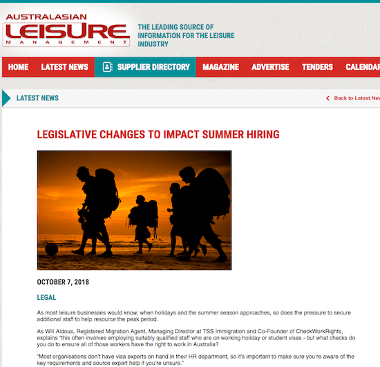 Australian Leisure Management checkworkrights