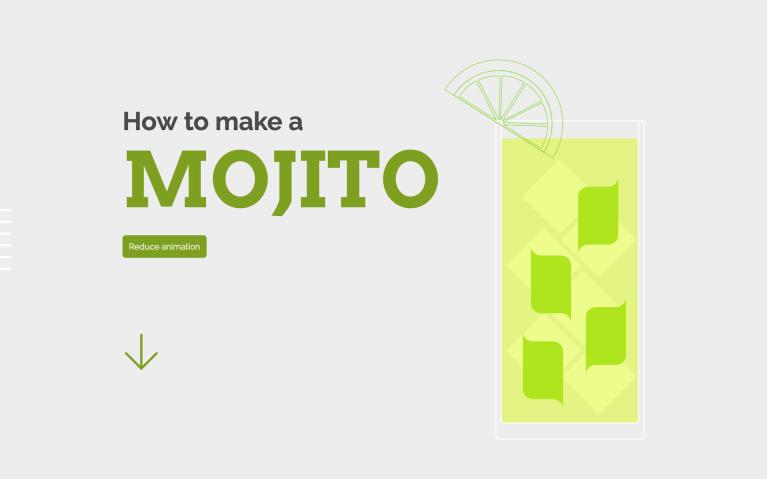 Screenshot of the interactive recipe 'How to make a mojito'