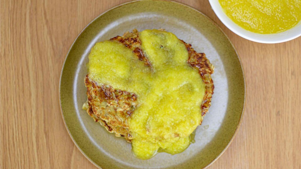 Tortilla de avena con salsa de piña
