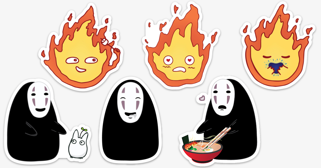 Fanart Ghibli Studio characters No Face and Calcifer