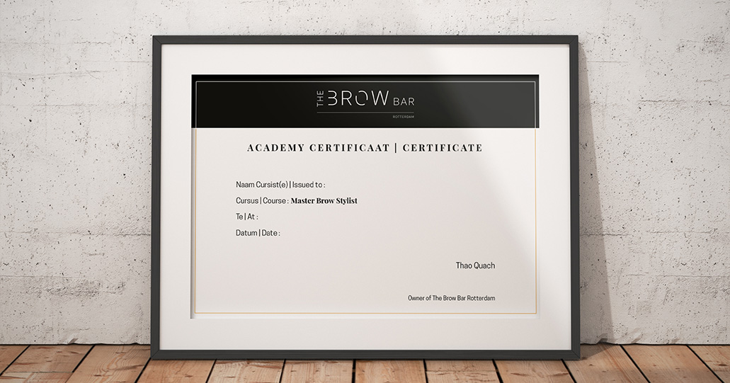 Academy certificate of The Brow Bar Rotterdam