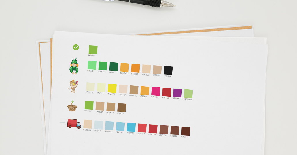 Color coded illustration character icons