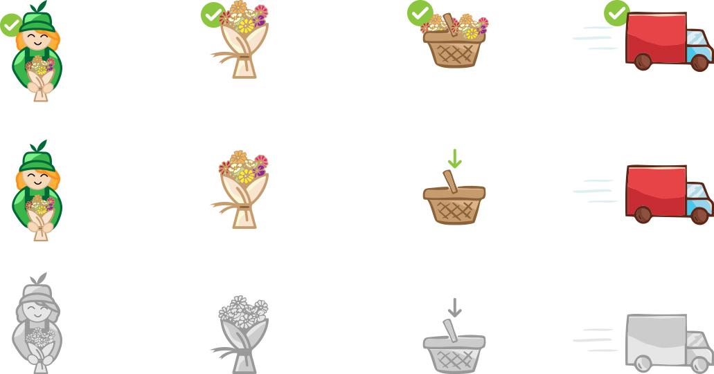 Icon illustration checkout process