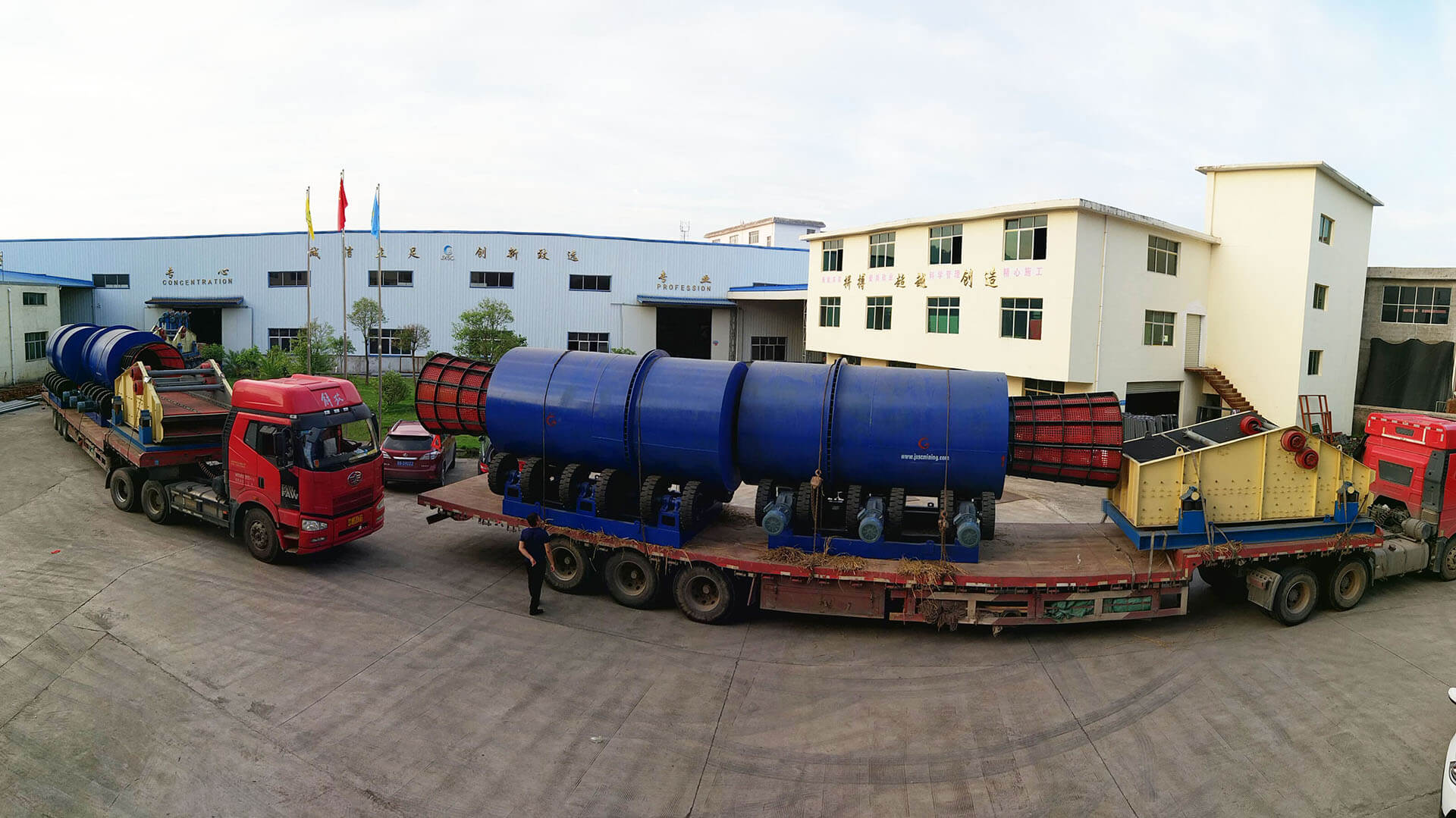 trommel scrubber and dewatering screen ready for delivery