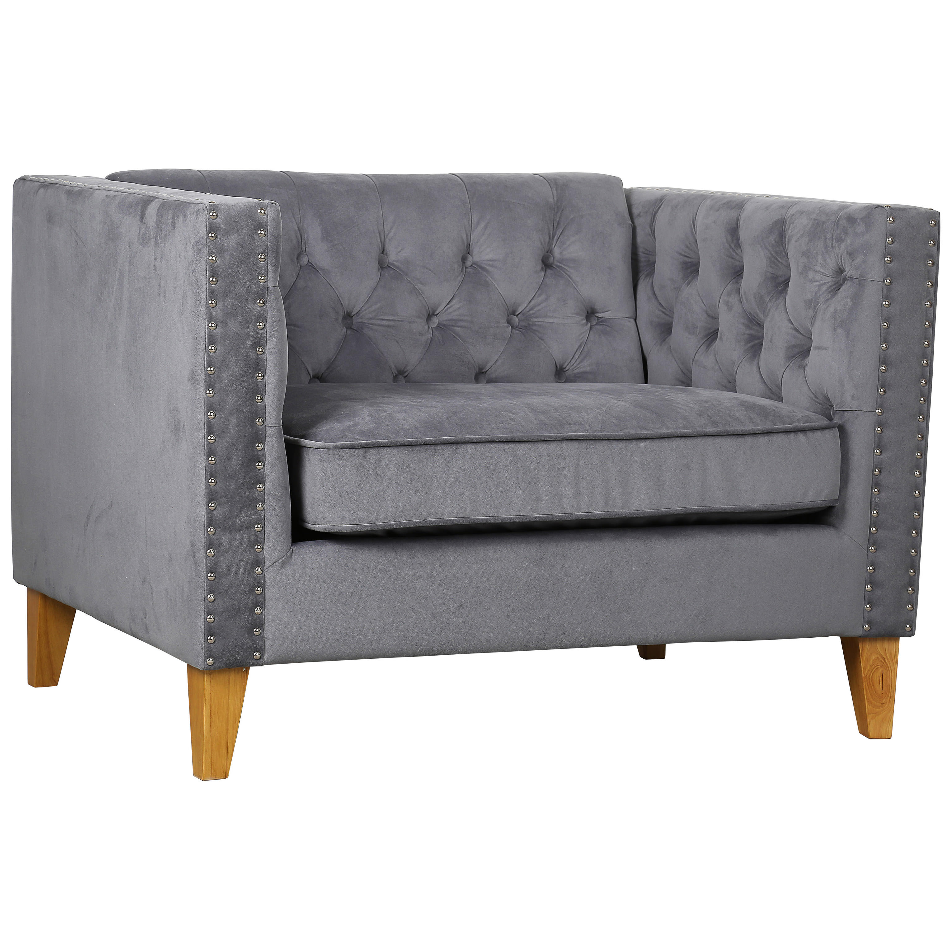 Merveilleux Description: Grey Velvet Armchair With Pin Tuck Button Detailing And  Squared Armrests. This One Seater Sofa Has Velvet Upholstery, Wooden Feet  And Would ...