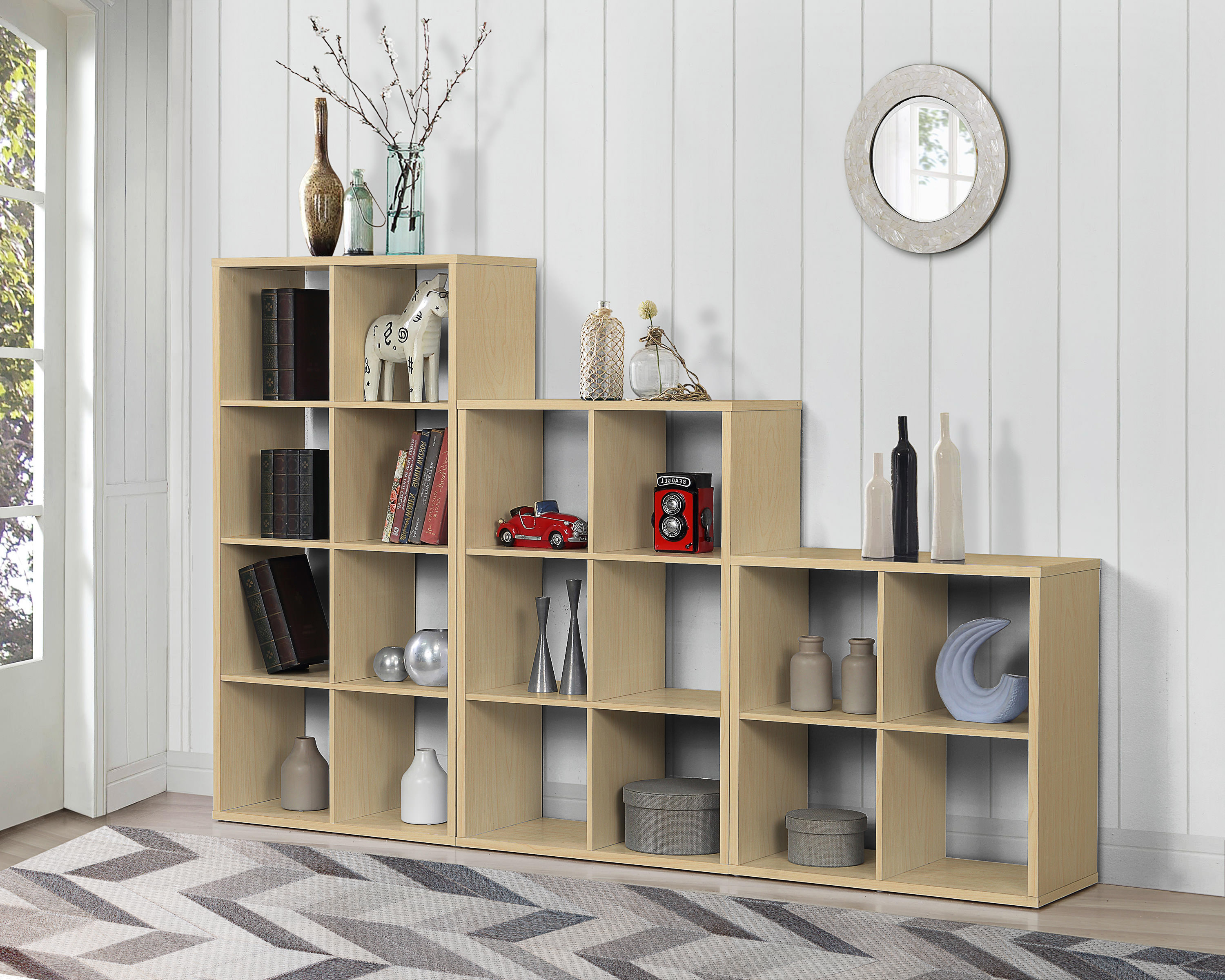 Description Beech finish display shelving unit with 9 shelves. This storage shelf or box cube room ider has a beech finish and would fit well in any ... & Beech Finish Storage Shelf Room Divider Shelves Display 9 Cube ...