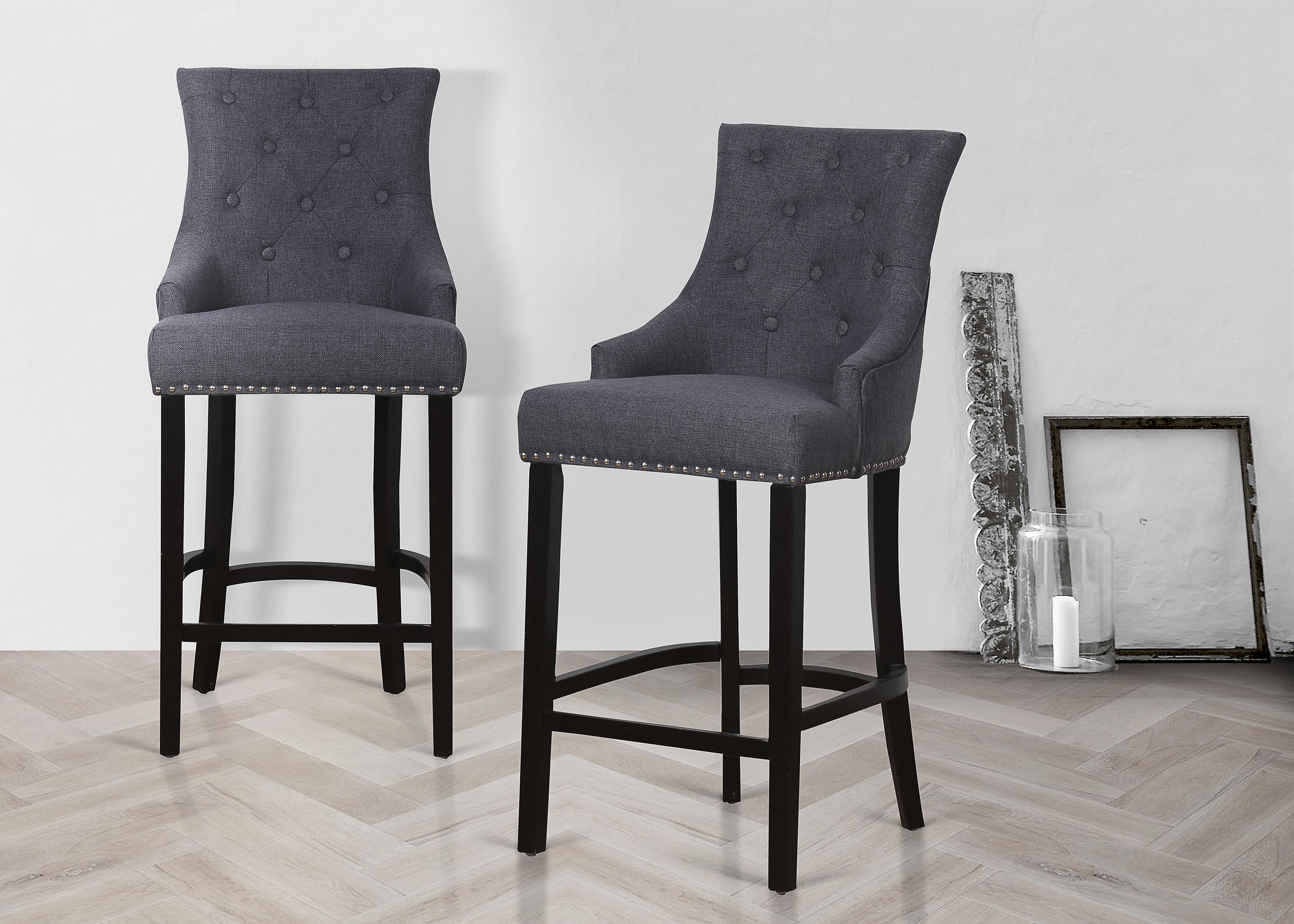 Description fabric barstool with pin tuck button detailing and high backrest this breakfast bar stool has fabric upholstery studded edges and would fit