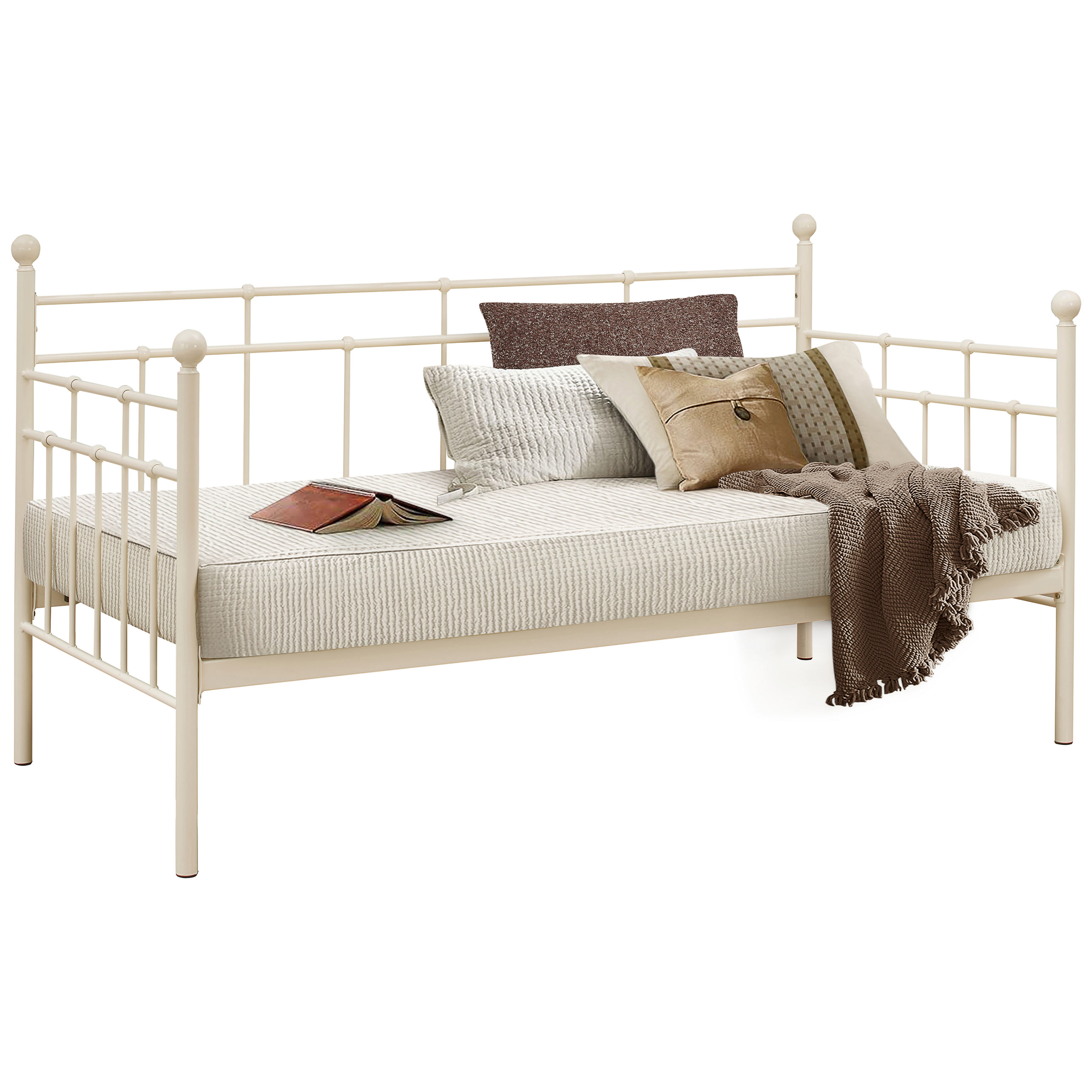 Metal Day Bed Daybed Frame and Trundle Guest Underbed | Single 3ft ...