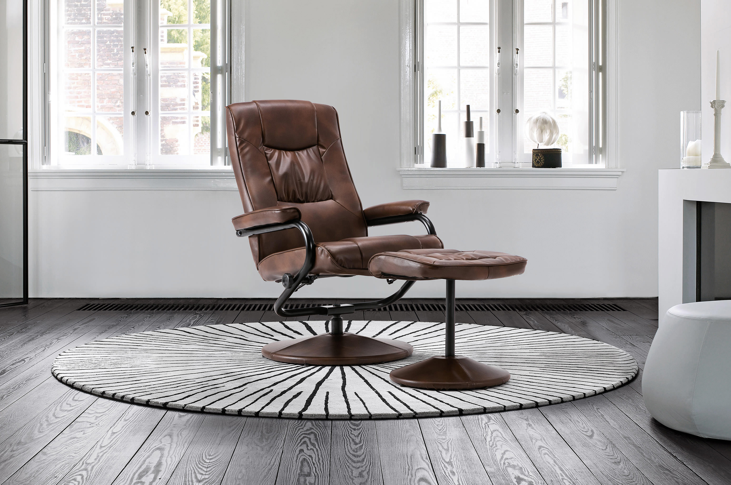 leather recliner swivel chair with matching footstool the mars