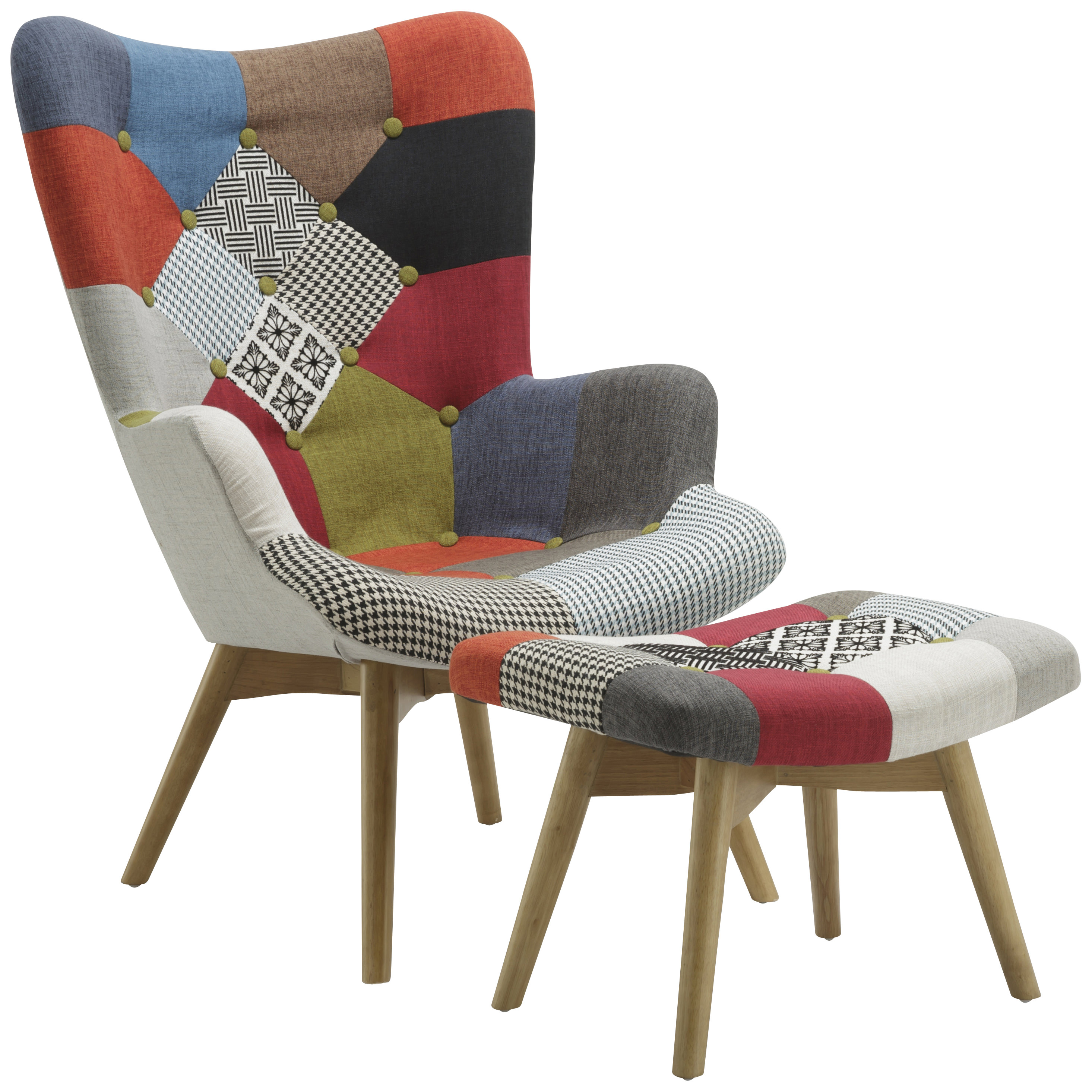 Patched Fabric Armchair Sofa Seat Tub Club Chair