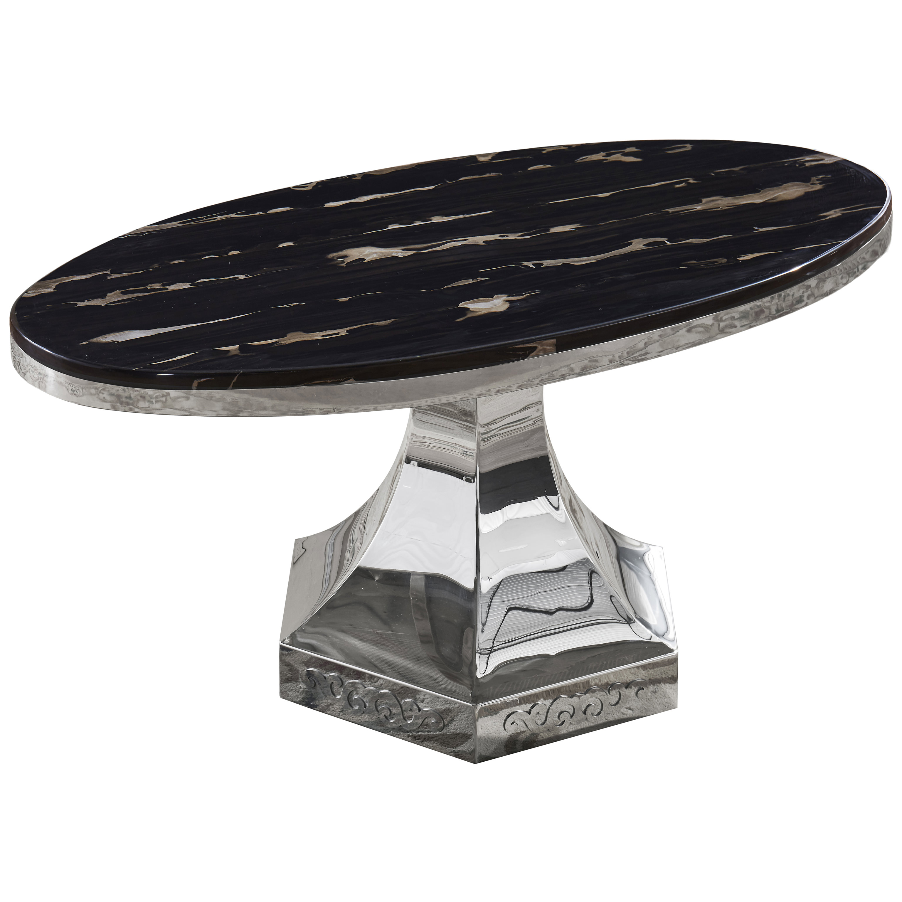 Details About Black Stone Marble Effect Oval Coffee Table