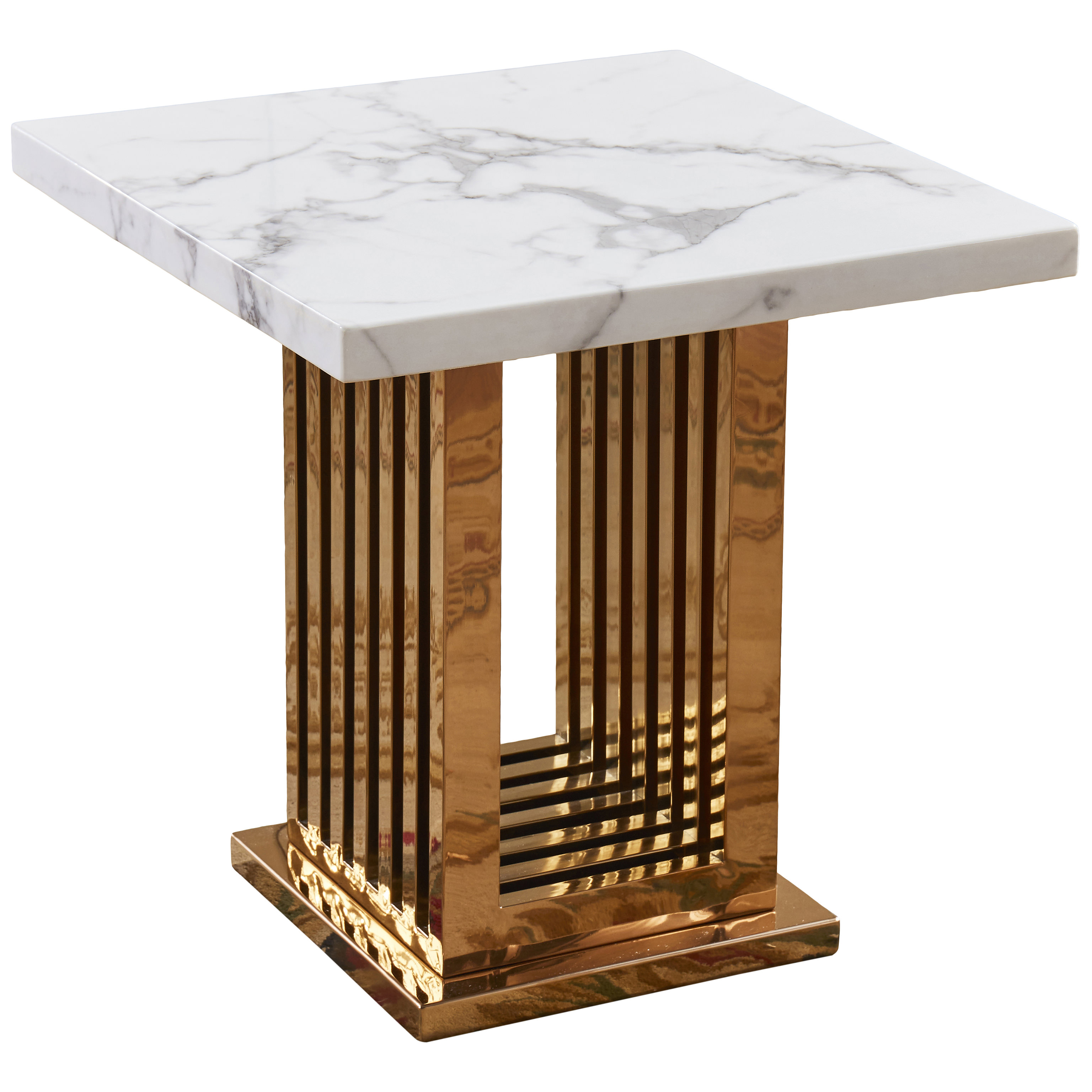 White Stone Marble Effect Rose Gold End Lamp Small Side Coffee Table Ebay