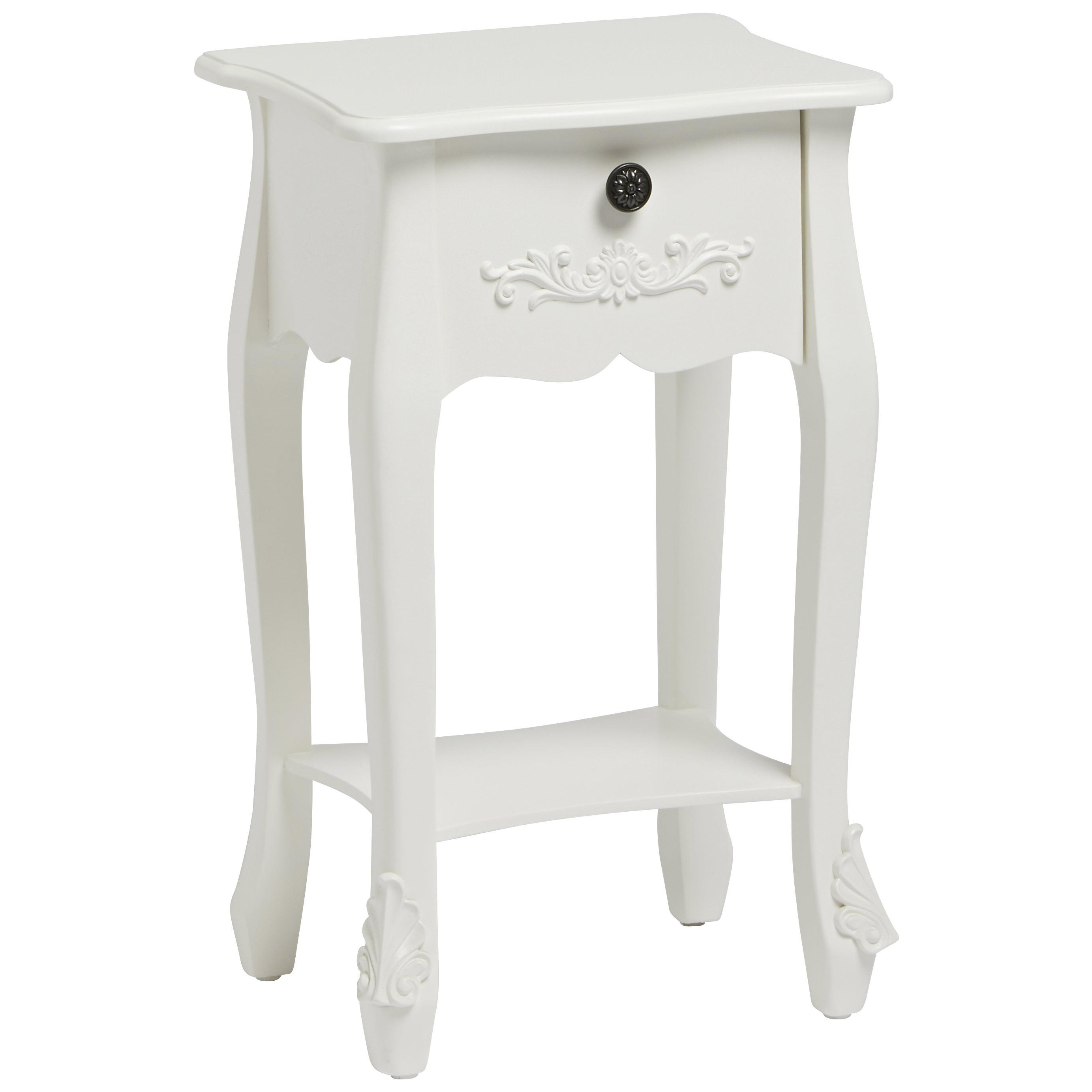 Shabby Chic Bedside Cabinet Bedroom End Lamp Table 1 Drawer Chest Black White Ebay