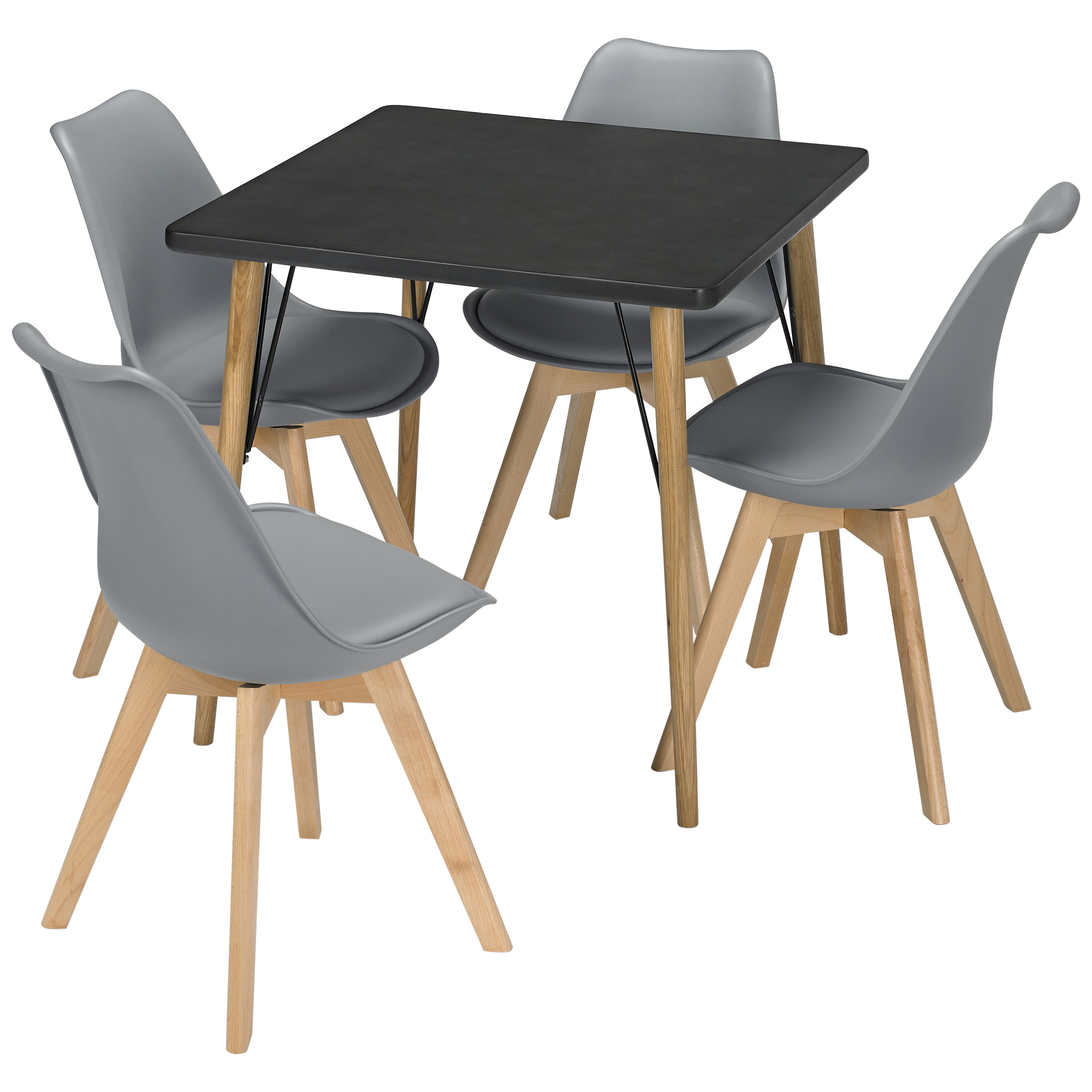 Solid Oak Dining Table And Chair Set With 4 Seats Black Grey White