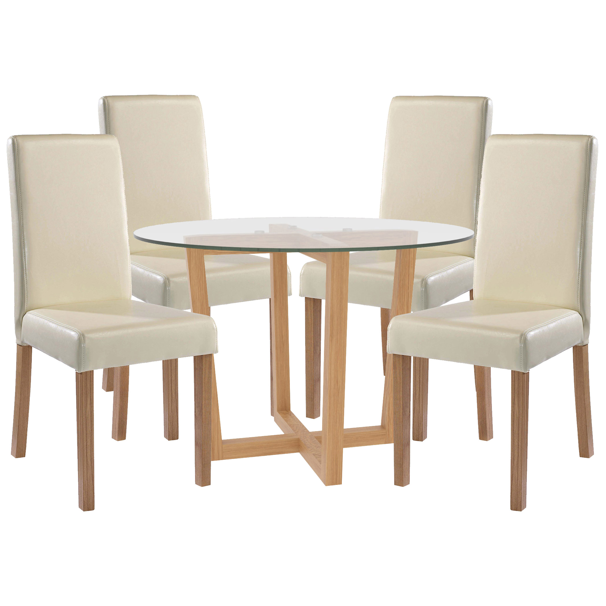 Oak Glass Dining Table And Chair Set With 4 Seats Black Brown
