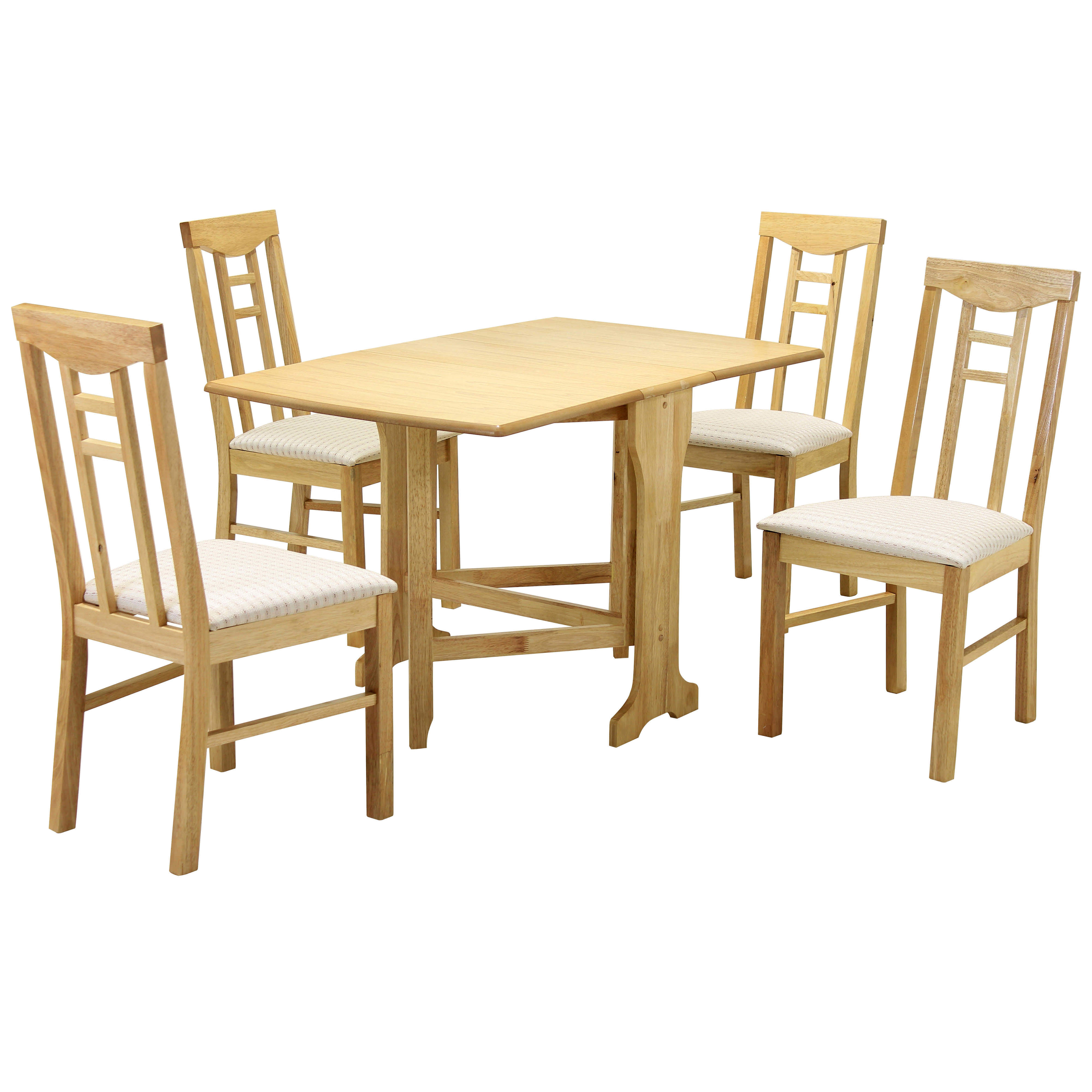 Details About Natural Finish Dining Table And Chair Set With 4 Seats