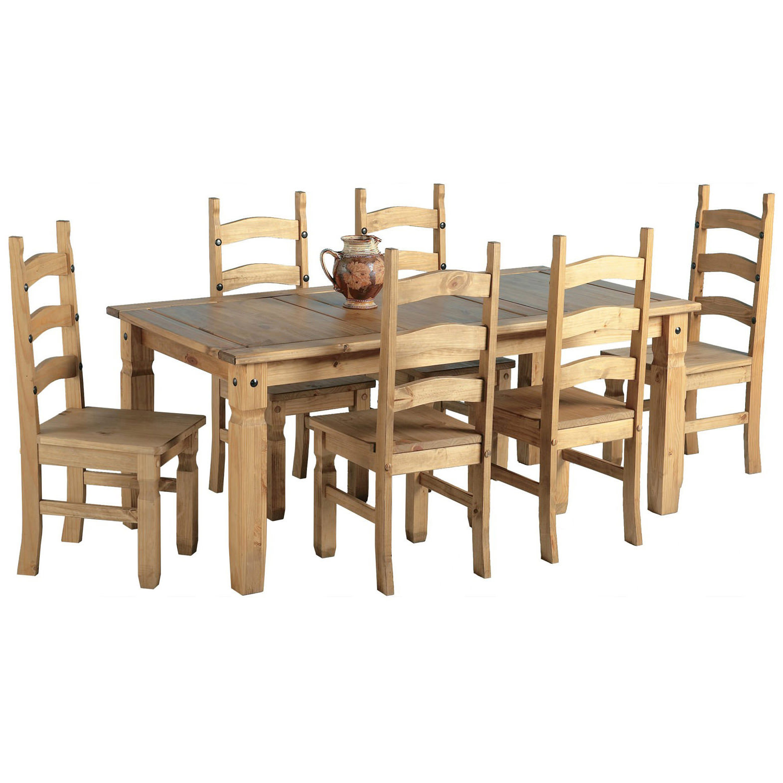 Solid Pine Light Wax Finish Dining Table And Chair Set
