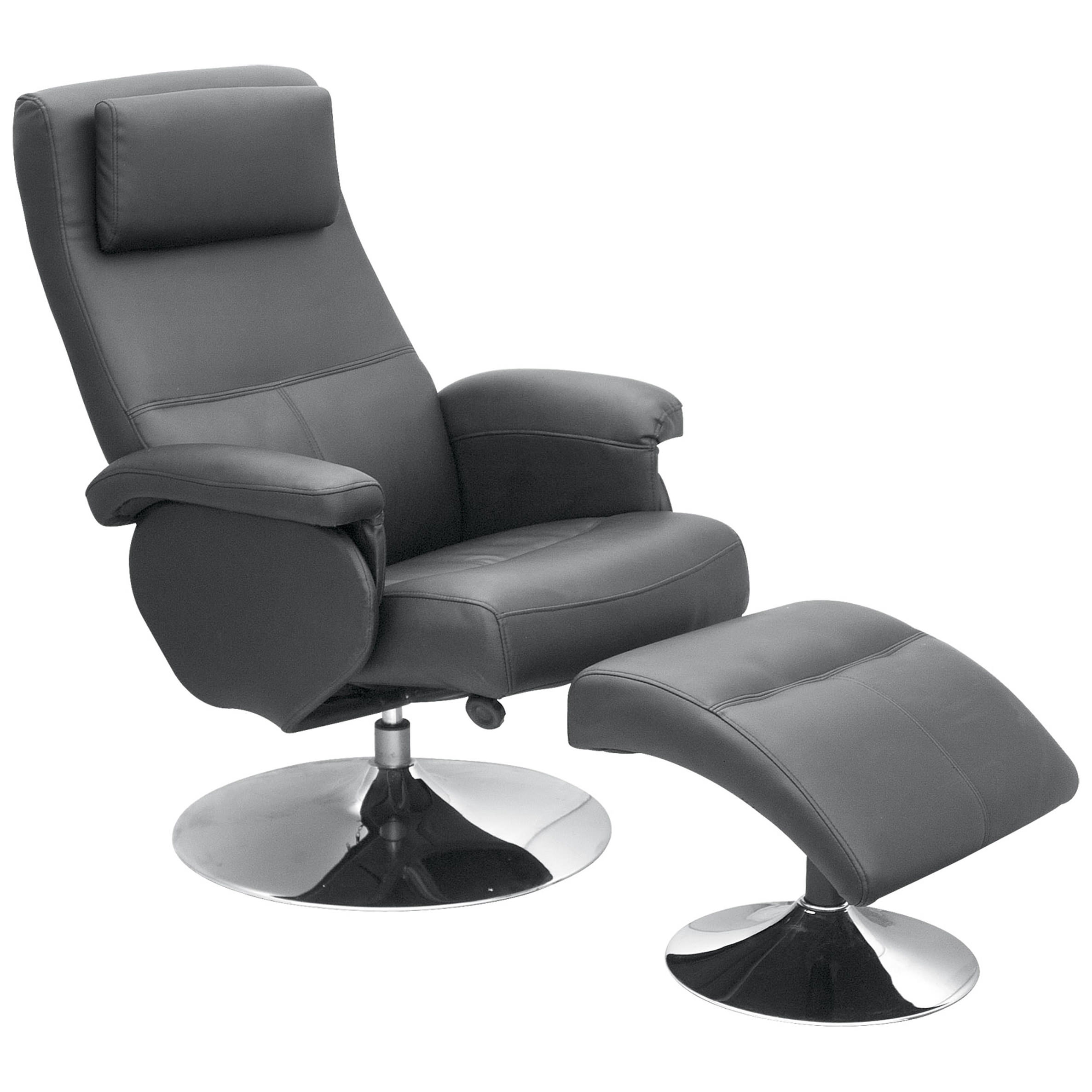 leather recliner reclining chair armchair seat 1 seater sofa black