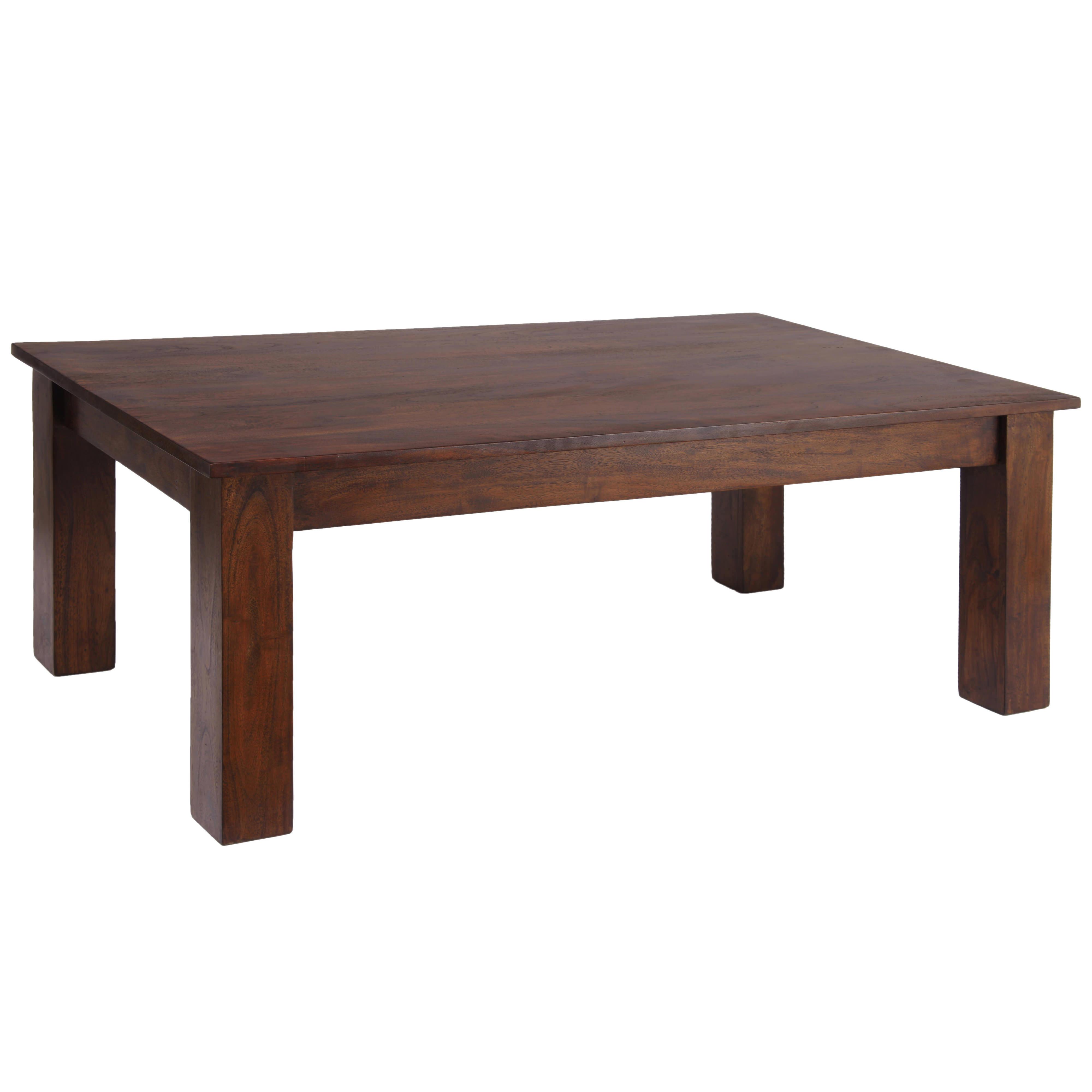 Solid Acacia Wood Dark Oak Finish Rectangle Coffee Table