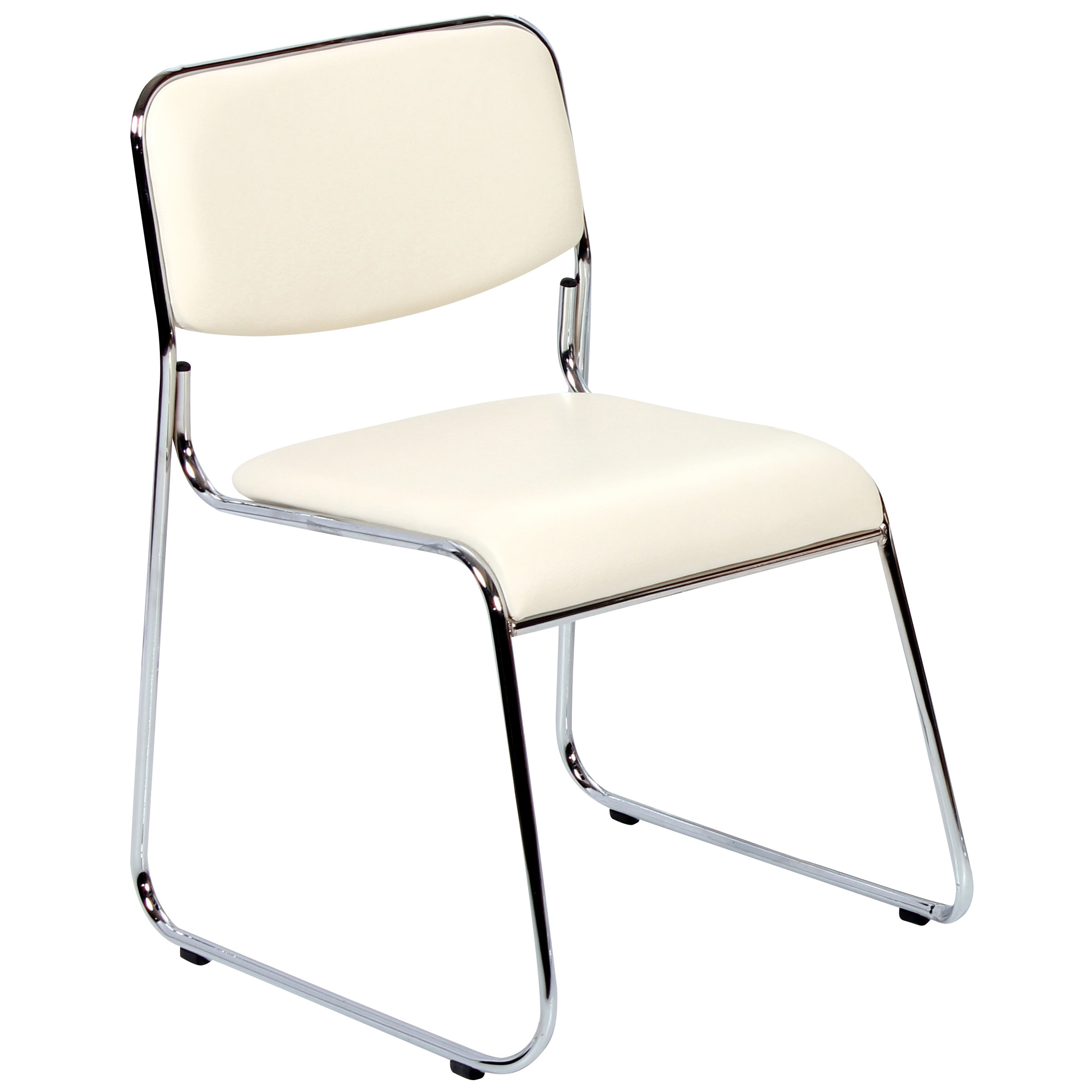 Pack Of 4 Chrome Leather Metal Dining Chair Seat Set Black Cream