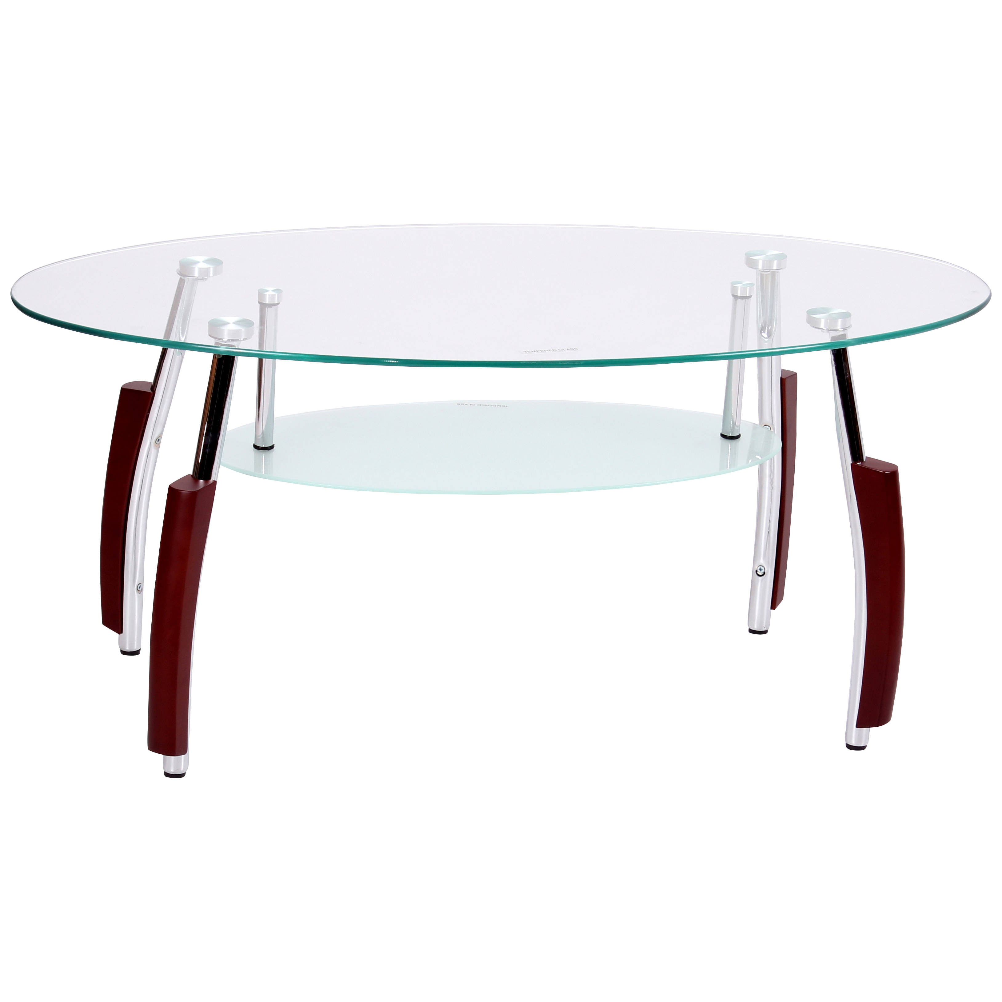 Details About Mahogany Chrome Metal Finish Clear Glass Oval Coffee Table With Shelf