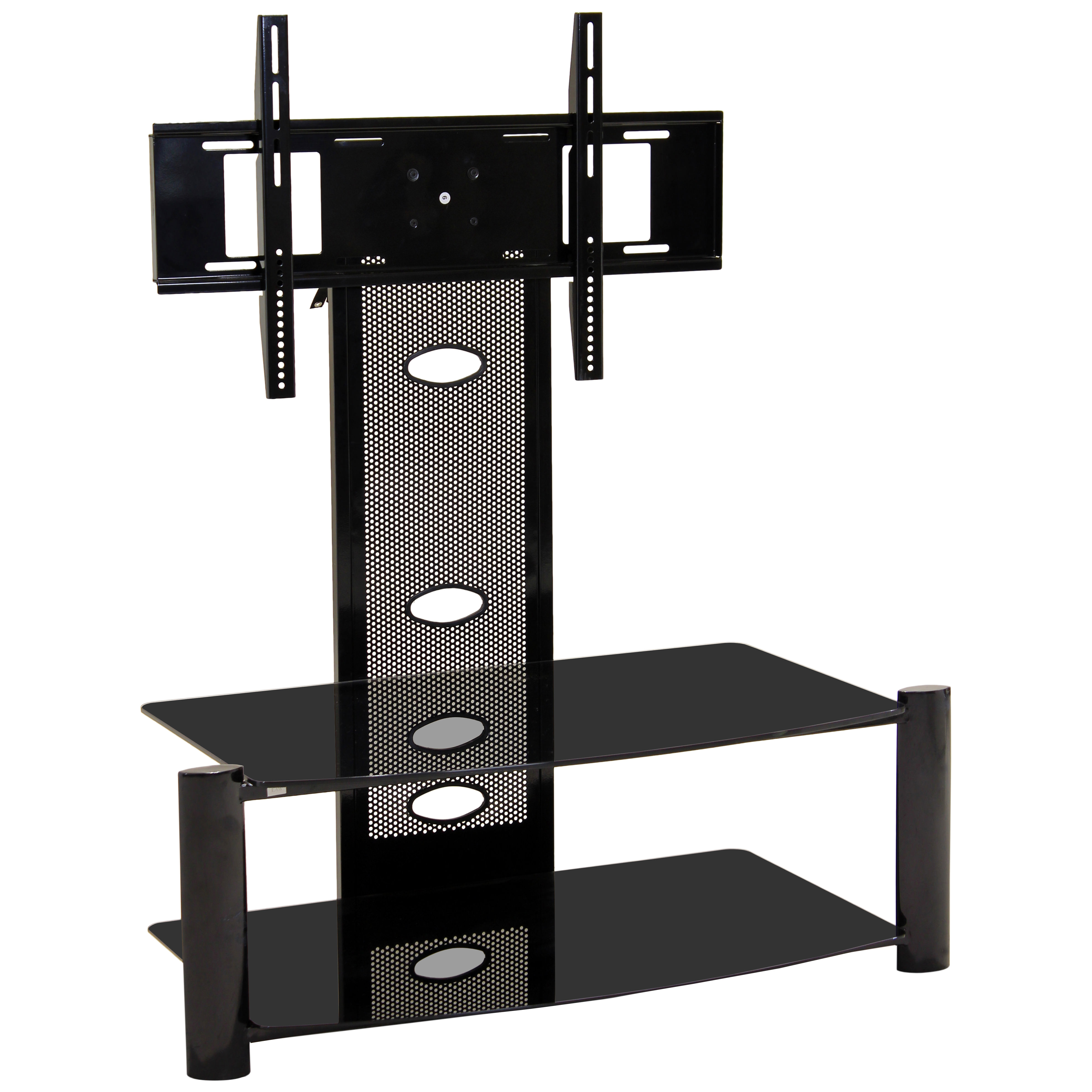 Black & Glass Flat Screen Plasma LCD TV Table Stand Unit with Mount ...